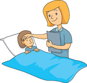 Nurse taking care of sick child
