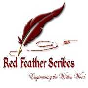 Red Feather Scribe logo red quill