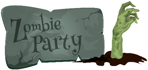 This image has an empty alt attribute; its file name is halloween_zombie_party_sm.png